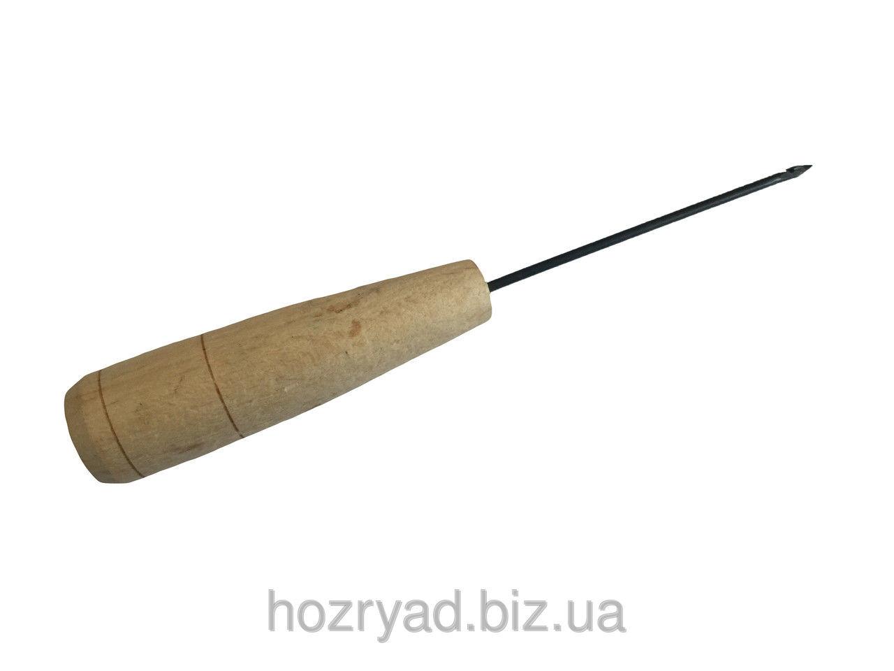 Шило-крючок для прошивки обуви  с деревянной ручкой
