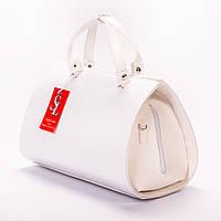 Белая сумка деловая в форме цилиндра