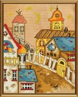 Набор для вышивания нитками и бисером Городок из сказки ННД 4039