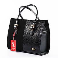 Деловая женская сумка комбинация лака и замши