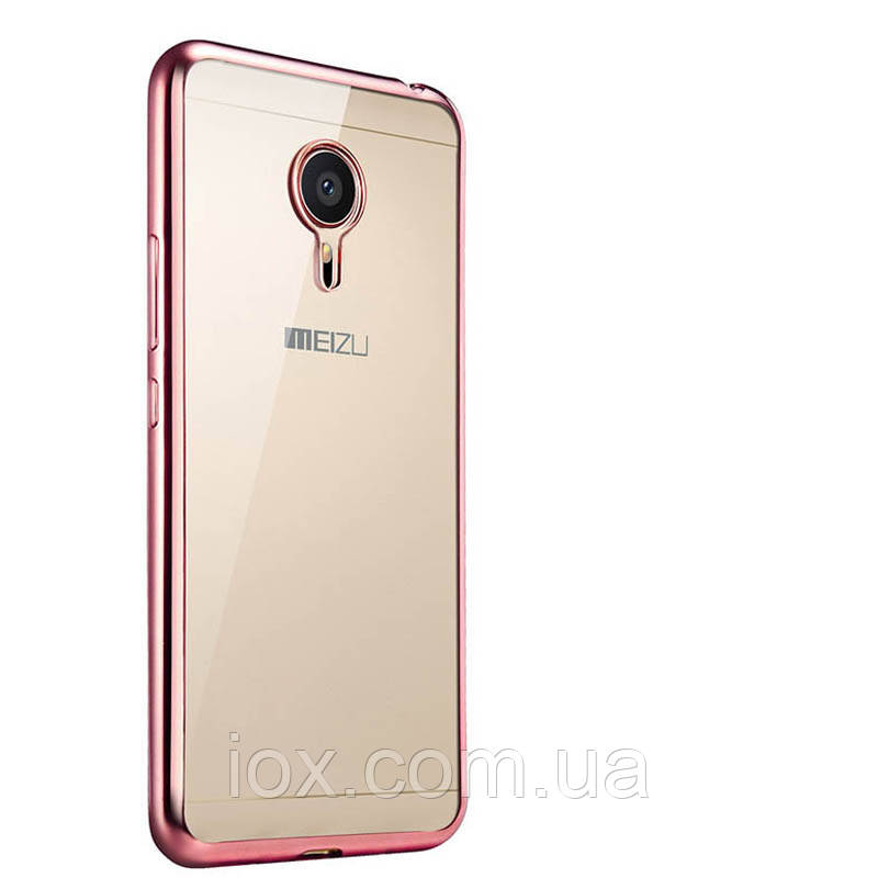 Силіконовий чохол з золотими ободами для Meizu M3 Note
