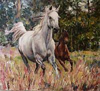 «Картина с лошадьми» картина маслом