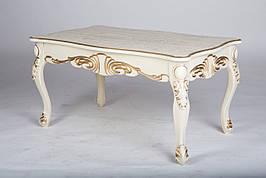 Журнальный стол в классическом стиле с резным декором Скарлетт Микс мебель, цвет слоновая кость + патина