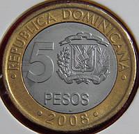 Монета Доминиканской республики 5 песо. 2008 год