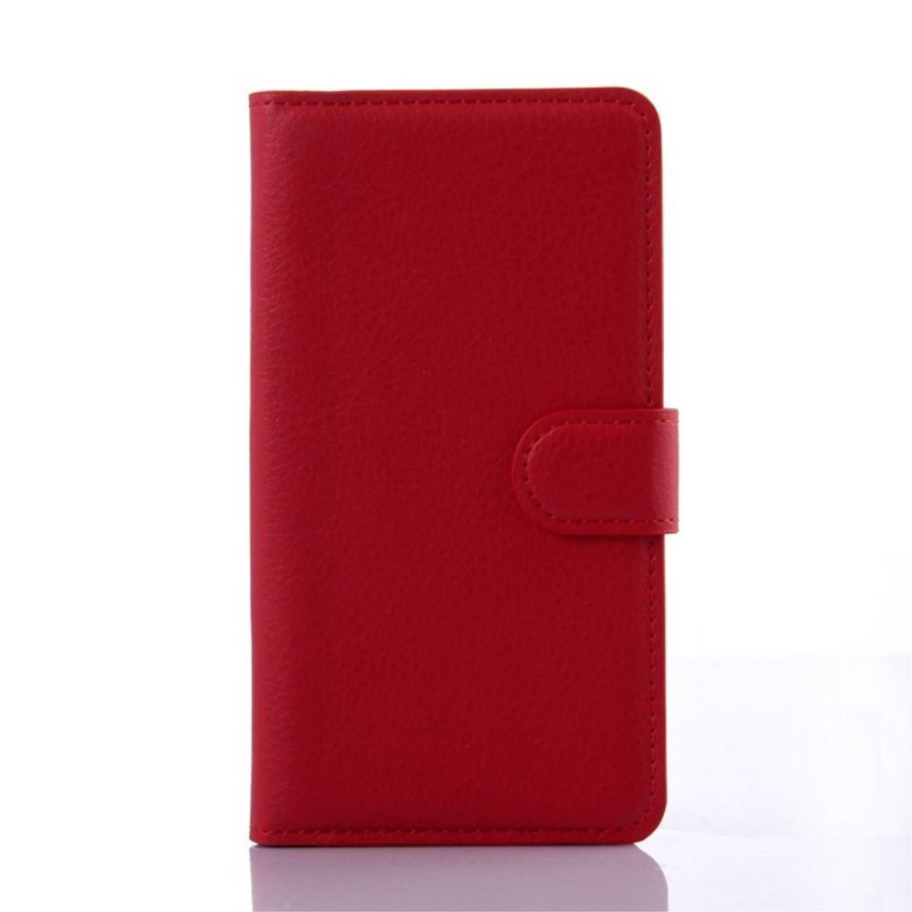 Чехол книжка для Lenovo A536 боковой с отсеком для визиток, красный