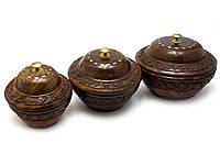 Набор круглых деревянных шкатулок 3шт Розовое дерево