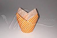 """Оранжевая бумажная форма для кексов """"Тюльпан"""" в полоску"""