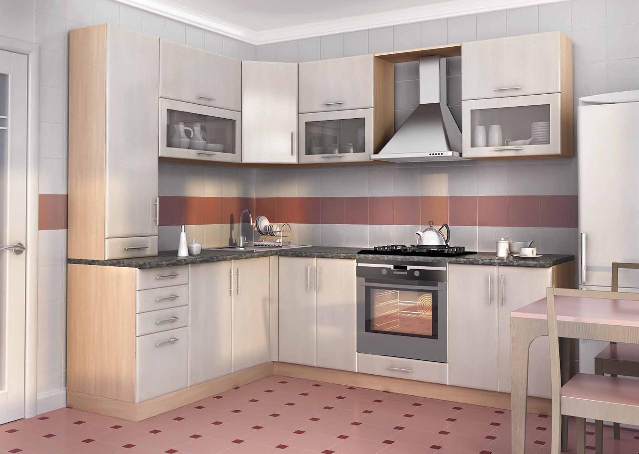 Кухня серая, высокая изготовление вариант-012