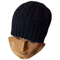 """Вязаная мужская шапка - носок  """"косичка"""" темно - синего цвета"""