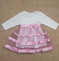 Платье нарядное Маленькая Леди д.р. Интерлок цвет лиловый, бирюзовый  размер 56-68 Бетис