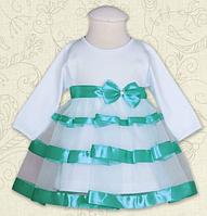 Платье нарядное Маленькая Леди д.р. Интерлок цвет лиловый, бирюзовый  размер 74-86 Бетис