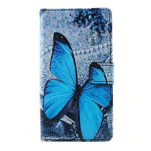 Чехол книжка для Lenovo A536 боковой с отсеком для визиток, Голубая бабочка