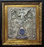 Икона из серебра и позолоты Ангел Хранитель с филигранью , фото 1