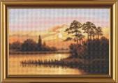 Набор для вышивания нитками на белой канве Закат над озером РЕ 3248