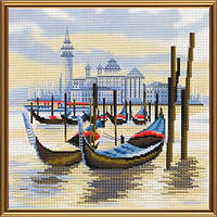 Набор для вышивания нитками на канве с фоновым рисунком Пристань в Венеции СВ 4069