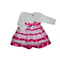 Платье нарядное Маленькая Леди д.р. Интерлок цвет малиновый, кофейный размер 74-86 Бетис