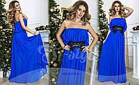 Вечернее платье без бретелях с отделкой кружевом