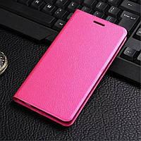 Чехол книжка для Xiaomi Redmi Note 3 боковой, Buble кожа Розовый