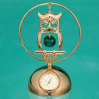 """Позолоченные настольные часы Swarovski """"Сова"""""""