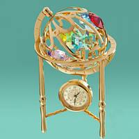 """Настольные часы-статуэтка с кристаллами Swarovski """"Глобус"""""""