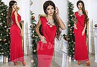 Вечернее платье красное с воланами