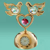 """Позолоченные настольные часы Swarovski """"Два голубя на сердце"""""""