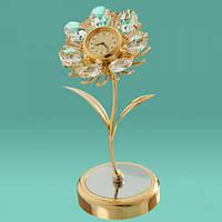 """Позолоченные настольные часы Swarovski """"Цветок"""""""