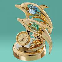 """Оригинальные часы Swarovski """"Два дельфина"""" позолота 24К"""
