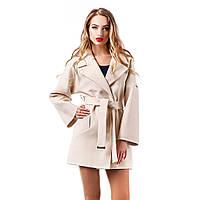 Пальто женское демисезонное с поясом светлое Шанель короткое