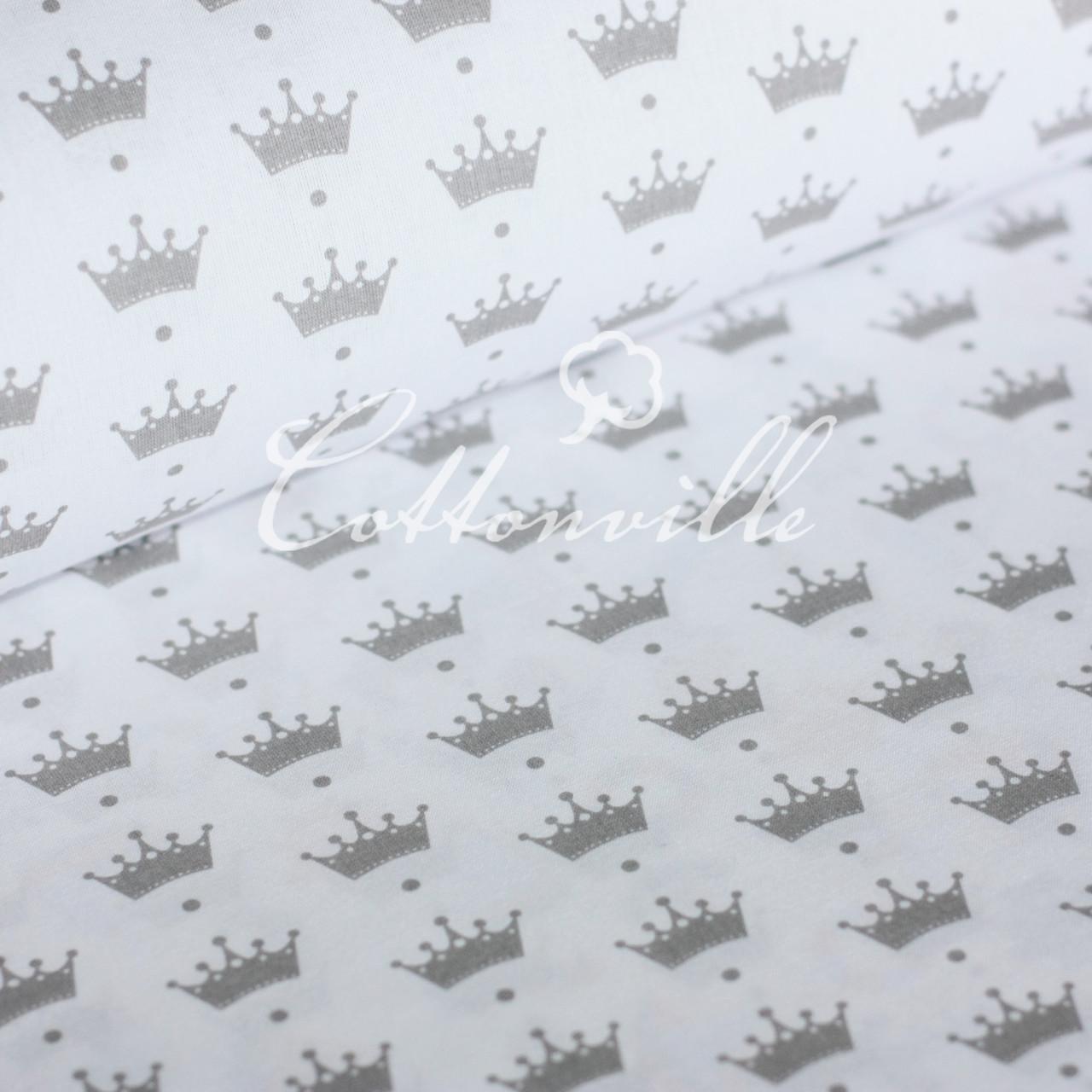 Польская бязь Короны серые на белом