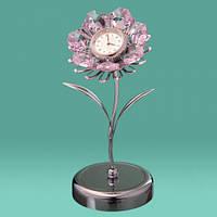 "Фирменные настольные часы Swarovski ""Цветок"" цветные кристаллы"