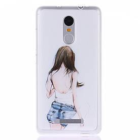 Чехол накладка для Xiaomi Redmi Note 3 силиконовый матовый, Девушка