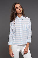 Рубашка в бело-голубую полоску