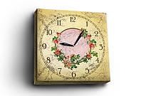 "Часы - картина на холсте ""Розы"", 30х30 см"