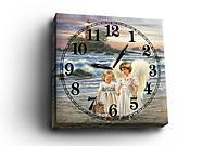 "Часы - картина  ""Ангелочки на пляже"", 30х30 см. Украина!"