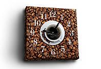 """Часы на холсте """"Coffee time"""", 30х30 см. Украина!"""