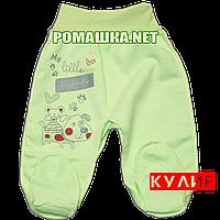 Ползунки (штанишки) на широкой резинке р. 56 ткань КУЛИР 100% тонкий хлопок ТМ Алекс 3166 Зеленый1
