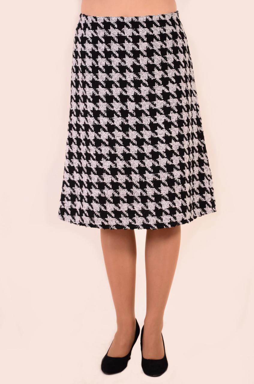 Юбка женская трапеция, куриная лапка, шахматка , по колено,Ю 457-1,юбка теплая,молодежка , ботал.