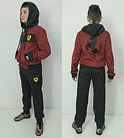 Детский спортивный костюм Ferrari с начесом  Бордовый