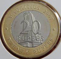 Монета Маврикий 20 рупий. 2007 год.