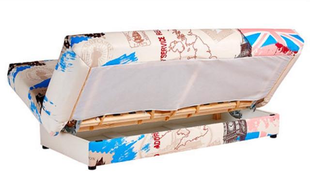 Диван Ньюс мех., Клик-кляк ткань Англия св. - коричневый (деревянный каркас)