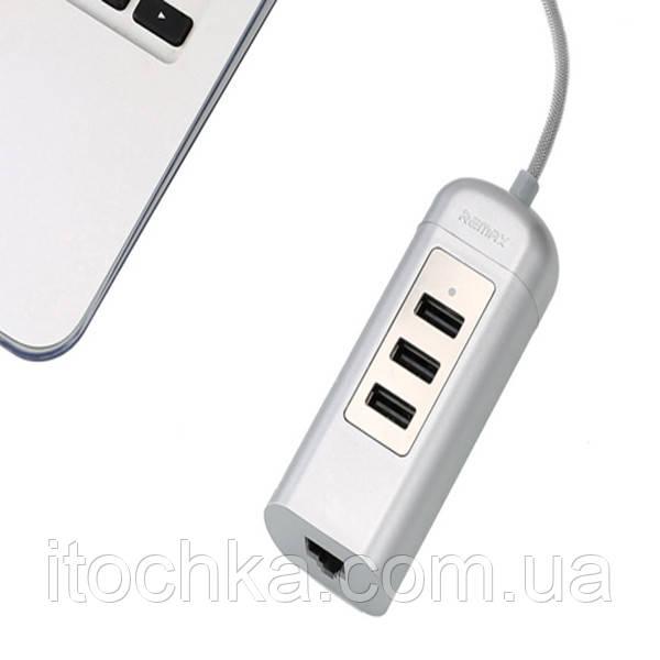 Remax Cati HUB USB 2.0 (3 порта) RU-U4 silver