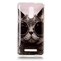 Чехол накладка для Xiaomi Redmi Note 3 силиконовый IMD, Кот в очках