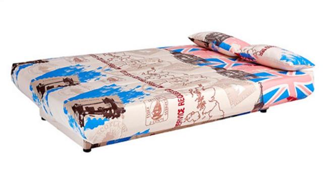 Диван Ньюс мех., Клик-кляк ткань Англия св. - коричневый (вид разложенный)