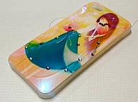 Чехол силиконовый с рисунком и стразами девушка для iPhone 5/5s/5se