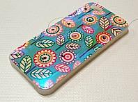 Чехол силиконовый c рисунком цветы стразы для iPhone 5/5s/5se