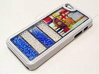 Чехол пластиковый Barcelona с бисером белый для iPhone 5/5s/5se