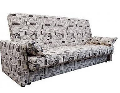 Диван-кровать Ньюс мех., клик-кляк ППУ, Газета беж, с двумя подушками и подлокотниками