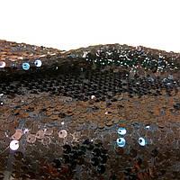 Пайетка ткань черная вышитая на сетке мерцающая для вечерней одежды