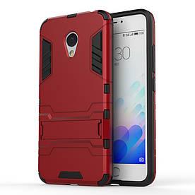 Чехол накладка для Meizu M3S / M3 / M3 mini противоударный силиконовый с пластиком, Alien, красный